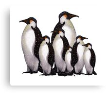 Group of Penguins in Snow: Original Pastel Art Canvas Print