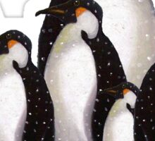 Group of Penguins in Snow: Original Pastel Art Sticker