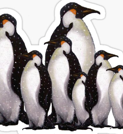 Group of Penguins in Snow: Original Pastel Art Sticker