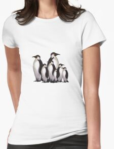 Group of Penguins in Snow: Original Pastel Art Womens Fitted T-Shirt