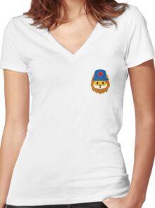 Blue Jays No Fear Lion Emoji Women's Fitted V-Neck T-Shirt