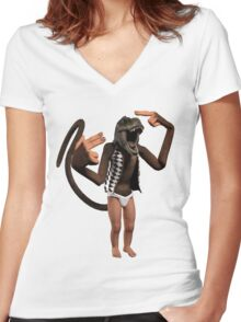 T Rex Monkey Baby Women's Fitted V-Neck T-Shirt