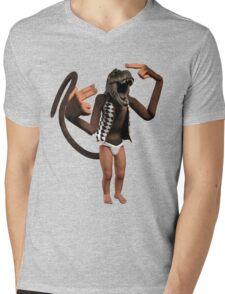 T Rex Monkey Baby Mens V-Neck T-Shirt