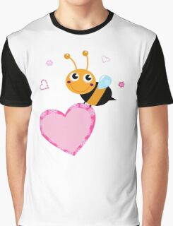 Cute bee holding pink Heart ♥ Graphic T-Shirt