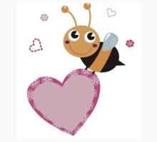 Cute bee holding pink Heart ♥ One Piece - Short Sleeve