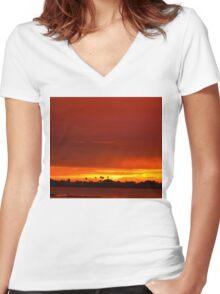Crimson and amber world Women's Fitted V-Neck T-Shirt