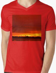 Crimson and amber world Mens V-Neck T-Shirt