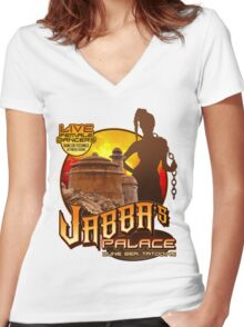 Jabba's Palace: Live Dancers...for Now. Women's Fitted V-Neck T-Shirt
