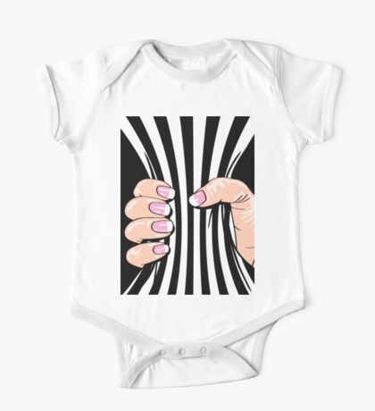 Big Hand Squeezing Referee Style Stripes One Piece - Short Sleeve
