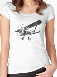 Retro fighter plane Women's Fitted Scoop T-Shirt
