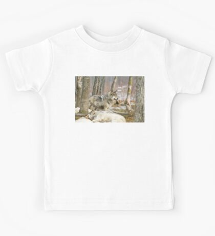 Watchful Timber Wolf Kids Tee