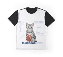 Tabby Cat Football Star Graphic T-Shirt