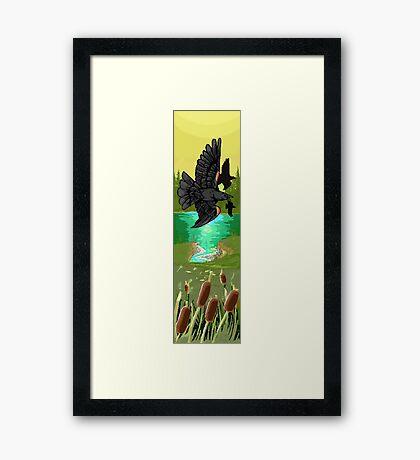 Pixel redwing black bird Framed Print