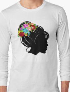 Flower Crown Silhouette Long Sleeve T-Shirt