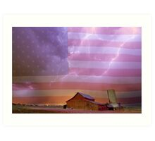 American Country Stormy Night Art Print