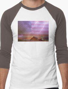 American Country Stormy Night Men's Baseball ¾ T-Shirt