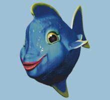 Cute Blue Fish Cartoon 3D Digital Art Kids Tee