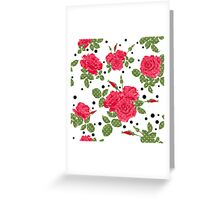 Seamless flowers of red roses pattern with black dots, circles on white background Greeting Card