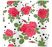 Seamless flowers of red roses pattern with black dots, circles on white background Poster