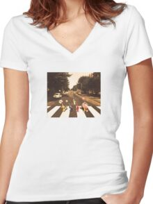 Pikmin Abby Road Women's Fitted V-Neck T-Shirt