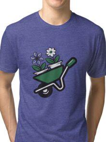 Garden wheelbarrow flowers Tri-blend T-Shirt