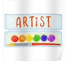 Artist Paint Palette and Brush Watercolor Poster