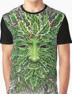 Holly King Christmas Yule Greenman portrait Graphic T-Shirt