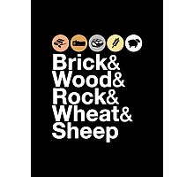 Helvetica Settlers of Catan: Brick, Wood, Rock, Wheat, Sheep | Board Game Geek Ampersand Design Photographic Print