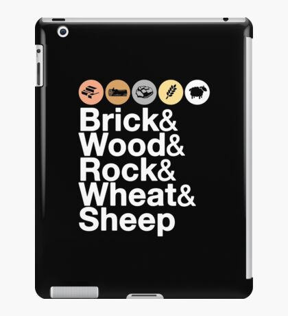 Helvetica Settlers of Catan: Brick, Wood, Rock, Wheat, Sheep   Board Game Geek Ampersand Design iPad Case/Skin