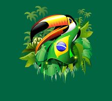 Toco Toucan with Brazil Flag Unisex T-Shirt