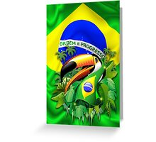 Toco Toucan with Brazil Flag Greeting Card