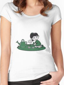 Garden watering flowers plants Women's Fitted Scoop T-Shirt