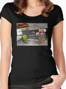 Crime Fighting Pigeon and Mouse  Women's Fitted Scoop T-Shirt