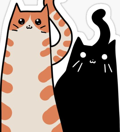 Tabby Cat and Black Cat Sticker