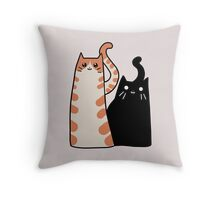 Tabby Cat and Black Cat Throw Pillow