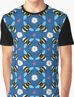 Bumblebee and Daisy Pattern Graphic T-Shirt