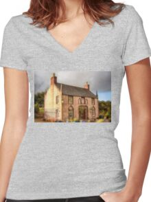 Delgatie Castle Laundry (Now Forester's Cottage) Turriff, Scotland Women's Fitted V-Neck T-Shirt
