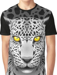 White Leopard with Yellow Eyes Graphic T-Shirt