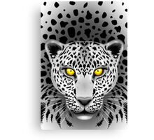 White Leopard with Yellow Eyes Canvas Print