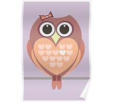 OWL WITH HEARTs Poster
