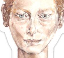 Tilda Red Head Face Portrait Drawing Sticker