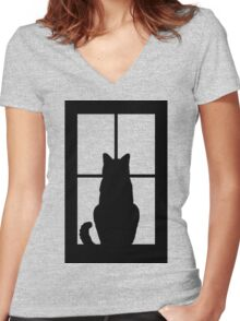 Window Cat Women's Fitted V-Neck T-Shirt