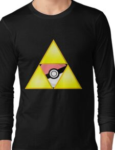 Zelda Triforce (Courage, Wisdom, Power, and Pokemon) Long Sleeve T-Shirt