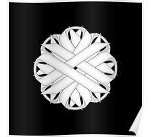 White Flower Ribbon Poster