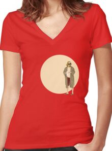 The Dude The big Lebowski Circle Women's Fitted V-Neck T-Shirt