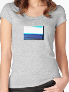Landscape blue white ing Women's Fitted Scoop T-Shirt
