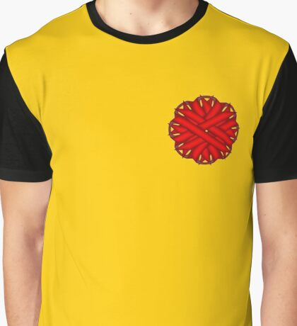 Red Flower Ribbon Graphic T-Shirt