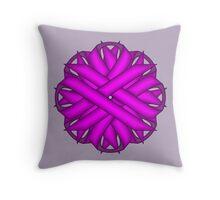 Purple Flower Ribbon Throw Pillow