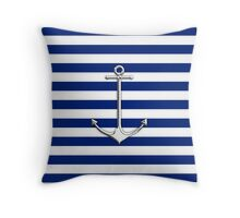 Chrome Style Nautical Thin Anchor Applique Throw Pillow
