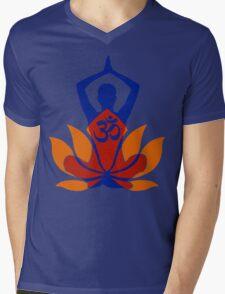OM Namaste Yoga Pose Lotus Flower Mens V-Neck T-Shirt